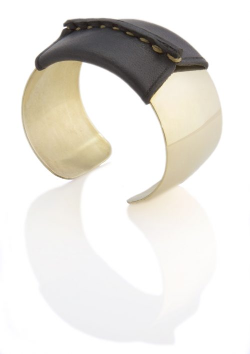 Domed Cuff Black Leather