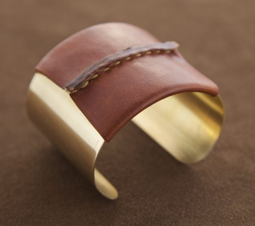 Brass Cuff with Brown Leather