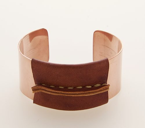 Copper Cuff with Brown Leather