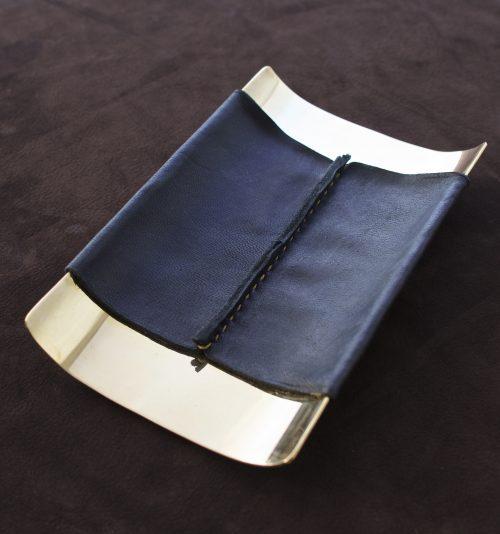 desk tray single seam black leather