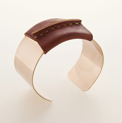 Pink Gold Filled Cuff Brown