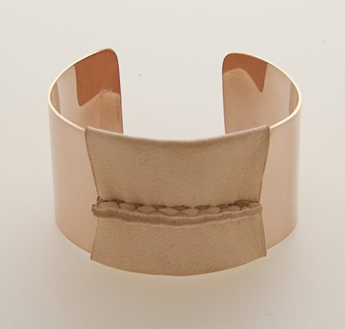 Pink Gold Filled Cuff Natural/Tan Leather