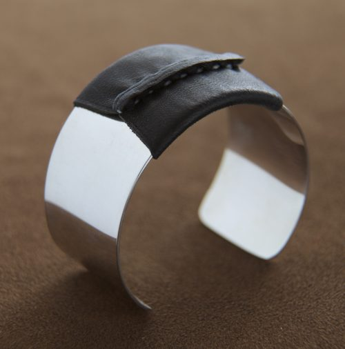 Sterling Cuff with Black Leather