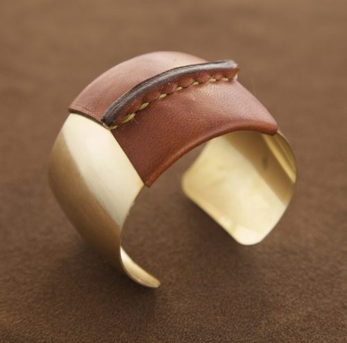 Domed Cuff Brown Leather