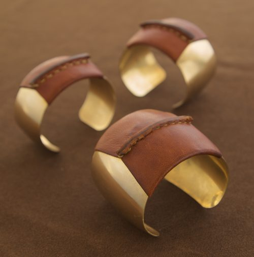 Brass Domed Cuffs with Brown Leather