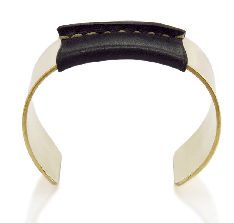Brass Cuff with Black Leather