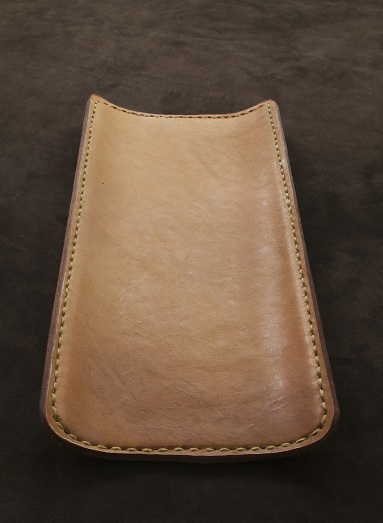 12in desk tray wrapped brown leather