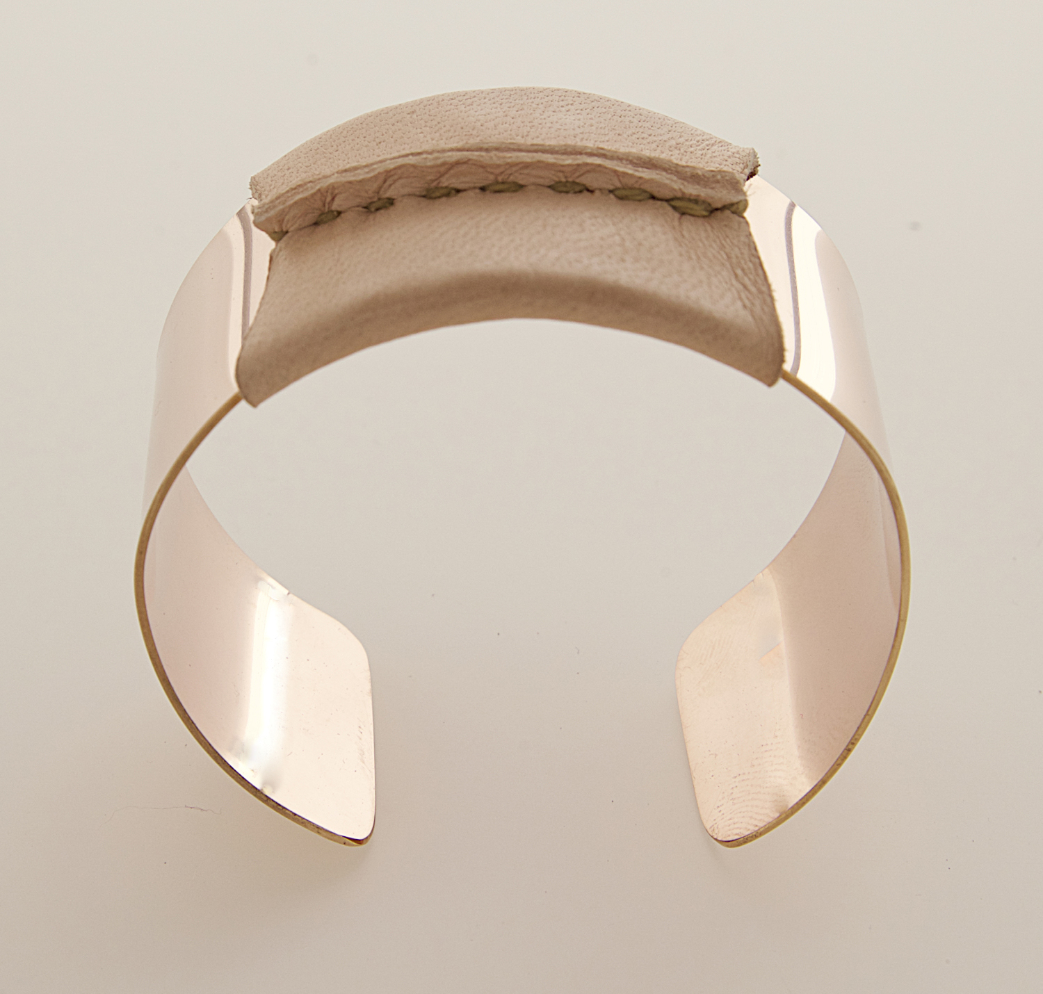 Rose Gold Filled Cuff Natural/Tan Leather