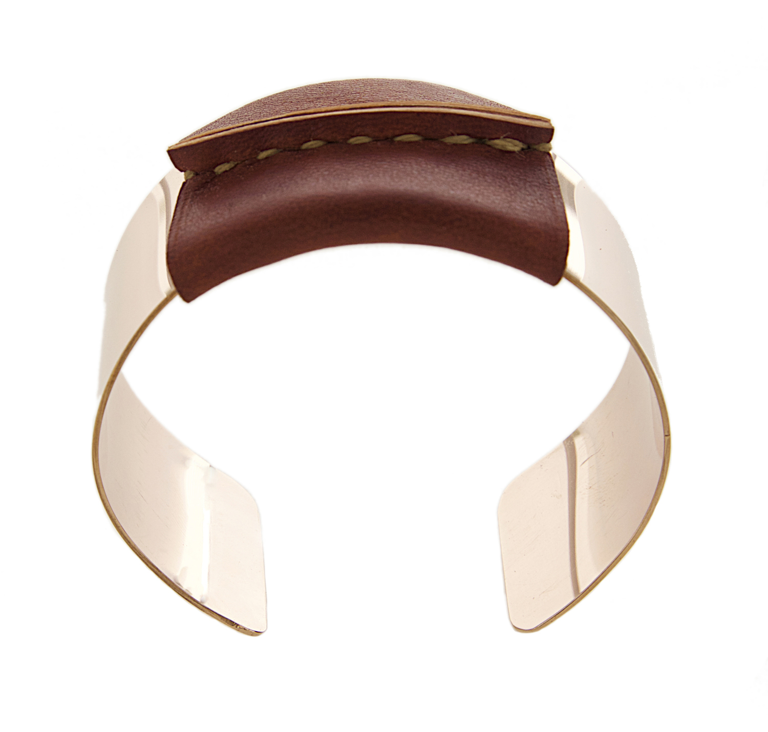 Pink Gold Filled Cuff Brown/Tan Leather