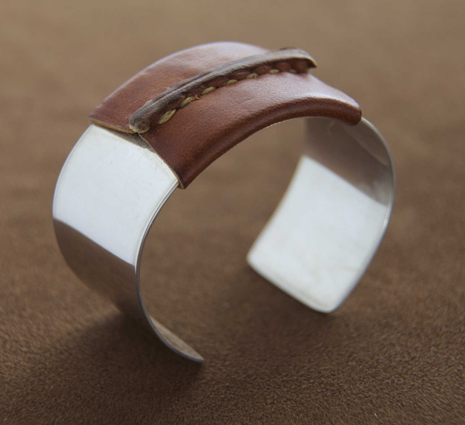 Sterling Cuff Brown Leather