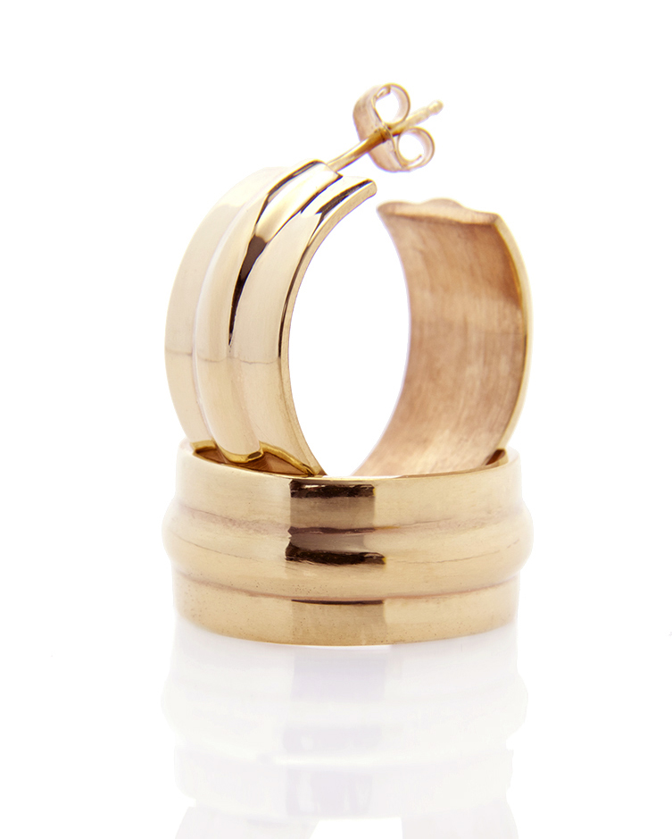 Sterling cast earring with yellow gold vermeil