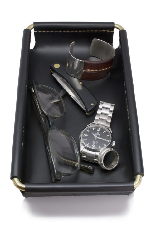 leather and brass valet tray