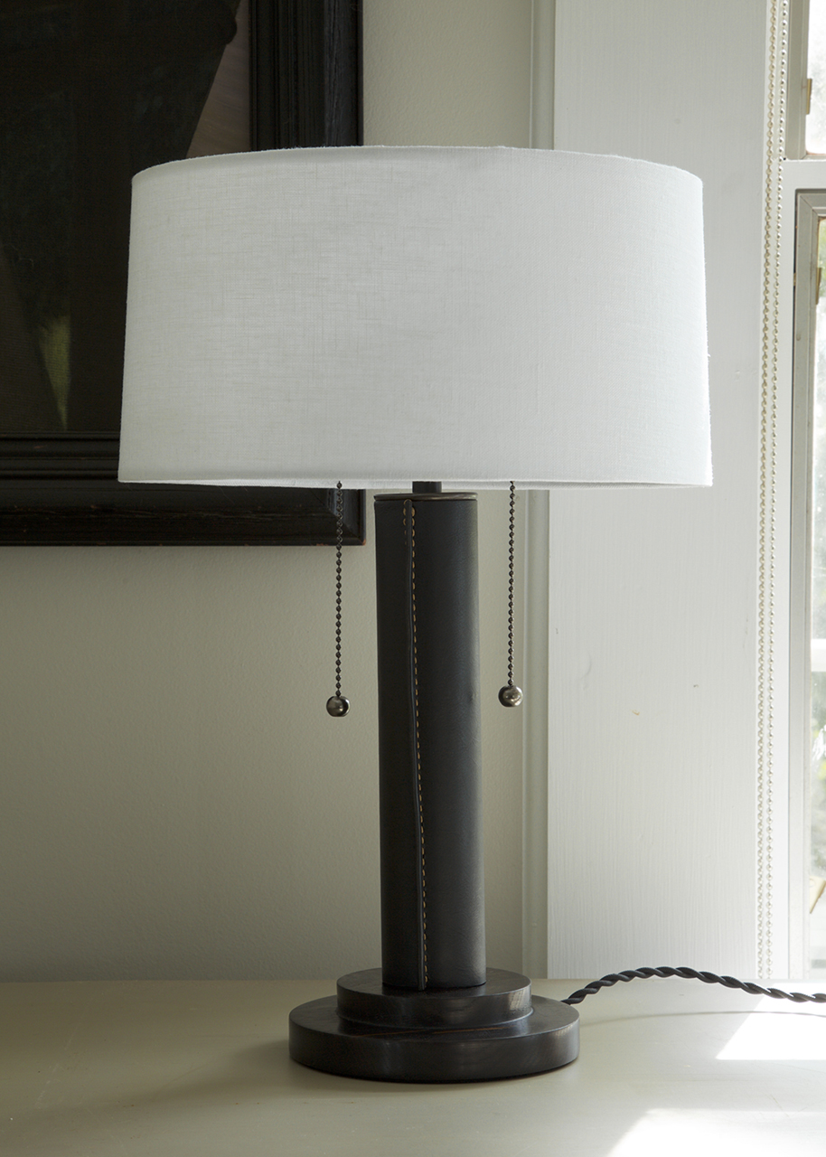 table lamp wrapped-leather column