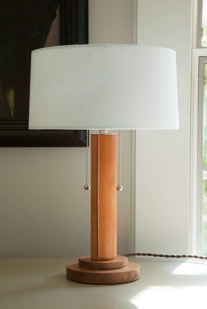 FSA table lamp with wrapped leather