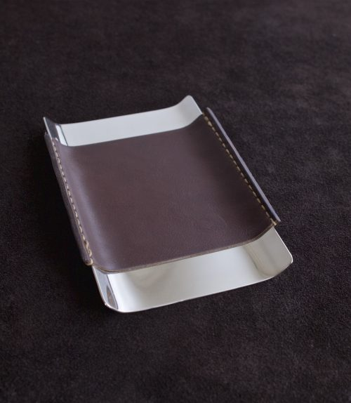 leather wrapped nickel desk tray