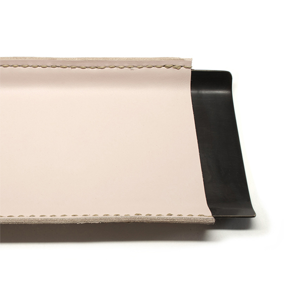 pink leather wrapped brass desk tray with dark patina finish