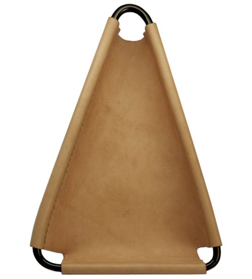 leather and brass triangle valet tray